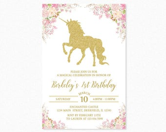 Gold Unicorn Birthday Party Invitation, Glitter Unicorn, Pink, Flowers, Girl, Personalized, Printable or Printed
