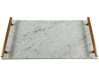 Marble tray - Carrara - Large with handles - 45.5cm x 22.5cm x 1cm