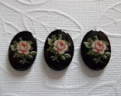 Pink Rose on Black Vintage Cameos - Decal Picture Stones - 18X13mm Glass Cabochons - Qty 6