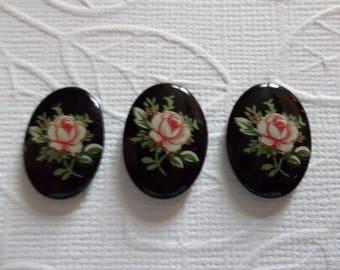Vintage Decal Picture Stones - Pink Rose on Black Cameo -  18X13mm Glass Cabochons - Qty 5