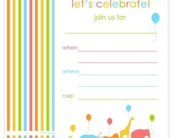 PRINTABLE Animal Parade Invites - #DIY #Digital #File (instant download)