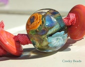 Handmade Lampwork Focal bead - 'Orange with Turquoise!' - Creeky Beads SRA