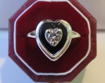 Art Deco .15ctw Diamond Black Onyx Heart Ring, 10k White Gold, Mourning Jewelry Vintage Ring Antique Ring Moonchild Papermoon Flapper Retro