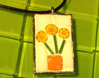 Yellow and light orange daisies in vase mosaic with white background rectangle mosaic pendant
