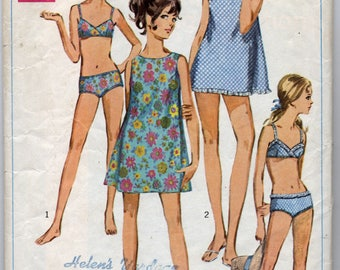 Vintage Junior Petites' Mini Dress or Top and Two-Piece Bathing Suit Sewing Pattern - Simplicity 7700 - Size 11 JP, Bust 34