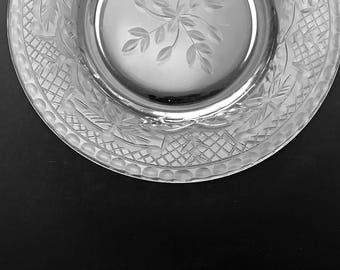 6 Vintage Cut Glass Plates Cut Crystal Luncheon Plates Salad Plates