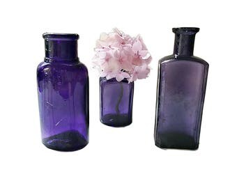 Antique Purple Bottle Collection 3 Rustic Old Bottles Purple Medicine Bottles Violet Wedding Decor