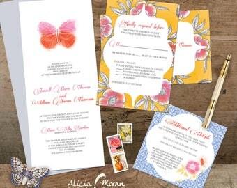 Wedding Invitation Suite: SAMPLE (Butterfly, Water color, Batik, Floral, Garden, Tea Party)