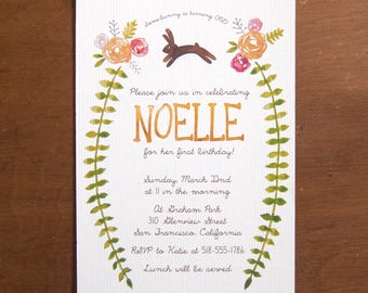 Bunny rabbit digital instant download watercolor floral birthday party invitations rose flowers whimsical