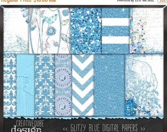 90% OFF Sale Digital paper - - Digital Scrapbook paper pack - Instant download - 12 Digital Papers - Blue Glitter