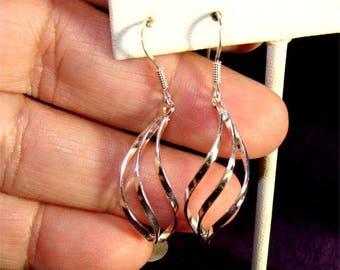 Short TWIST DANGLE Earrings in STERLING Silver