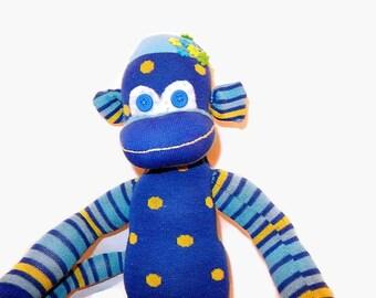 Sock monkey doll, handmade sock monkey,, striped monkey first sock monkey doll blue polka dotted sock monkey.sock monkey doll