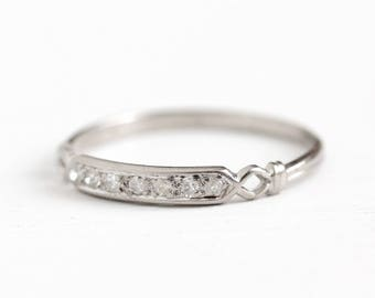 Platinum Diamond Band - Vintage .14 CTW Wedding Ring - Size 7 1/4 Art Deco 1930s Fine Engagement Stacking Dainty Open Metal Jewelry