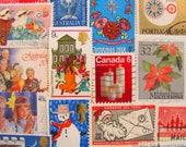Season's Greetings 50 Vintage Christmas Postage Stamps Traditional Contemporary XMas Scrapbooking Happy Holidays Santa Worldwide Philately
