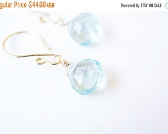 SALE Earrings, Aquamarine Earrings, Gold Earrings, Birthstone Earrings, Dangle Earrings, Drop Earrings, Gemstone Earrings, March Birthstone,