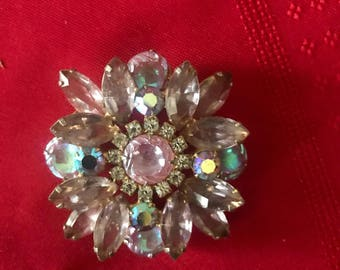 1960's Lavender and clear rhinestone brooch