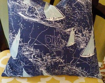 SALE Pillow navy sail boats  Pillow Cover All Sizes