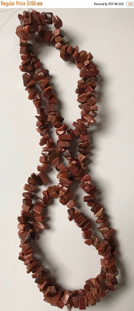 CLOSING SALE Brown Goldstone Glass Chip Beads - 6 to 12mm, Gold Sparkles, Irregular Smoothed Shapes, Full Strand, 16 Inch, G1