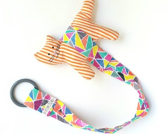 Toy leash - SALE - was 16.00 - geometric multi-color print