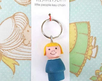 Keychain - Vintage Fisher Price little people - key ring - little girl blonde hair