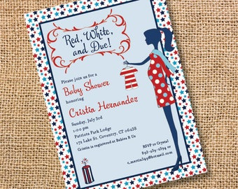 Red White & Due Baby Shower 4th of July Patriotic Backyard BBQ Baby Q Independence Day Gender Reveal Party Red White Blue Printable Invite
