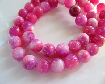8mm Mountain JADE Beads in Dark Pink, Violet and Cream, Dyed, Round, 1 Full Strand 16 Inches, Approx 48 Beads Gemstone Beads