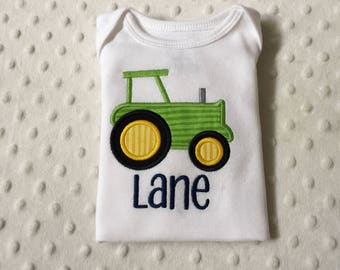 Baby Boy  Personalized Bodysuit with Tractor Applique