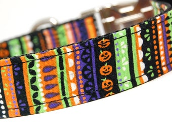 Custom Handmade Dog Collar - Halloween Stripes - Bright Dog Collar for Halloween with Pumpkins Bats Jack o Lantern Orange and Black Collar
