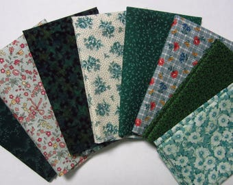 8 Assorted Greens Cotton Fabric Scraps, Fat Sixteenths, Calico Stash Builder, Destash, Quilting, Sewing