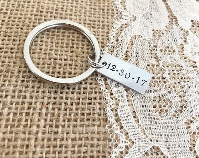 Simple DATE, custom, hand stamped, tag keychain steel