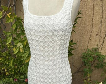 25% OFF SALE A vintage 1980s custom-made cream  beaded wiggle wedding formal cocktail dress size Xs