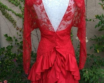 25% OFF SALE Vintage 1980s designer Jill Richards Nieman Marcus red lace illusion tiered cocktail dress size S M