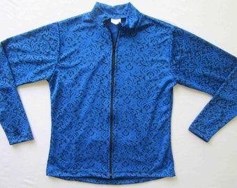 Women's Cycling Jersey Jacket Royal Blue w/ black Print - XS thru Large