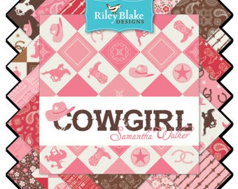"Cowgirl 5"" Fabric Squares Charm Pack  by Samantha Walker for Riley Blake, 42 pieces"