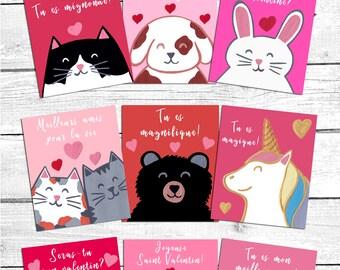 Mini cartes de souhaits à imprimer pour la Saint-Valentin, téléchargement instantané, numérique, carte st-valentin, saint valentin enfants