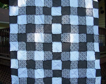 Queen Size Black and White Damask Rag Quilt, Black Toile Quilt, Modern Minky Bedding, Handmade in NJ