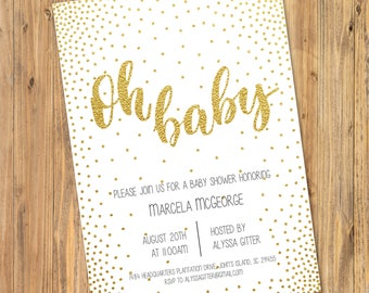 Printable or Emailable Gold Glitter Oh Baby Gender Neutral Shower Party Invitation
