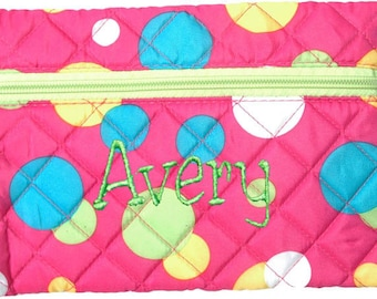 Personalized Quilted Cosmetic Case or Pencil Pouch Dots Plnk