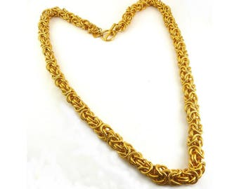 Hefty Anne Klein Byzantine Chunky Chain Necklace, 1980's Power Dressing