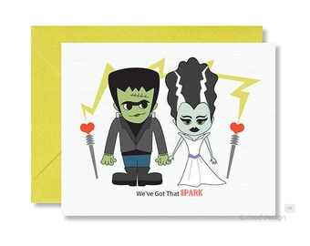 Halloween Love Card / Frankenstein / Bride of Frankenstein / We've Got That Spark