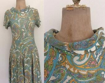 30% OFF 1960's Paisley Print Nylon Dropwaist Dress