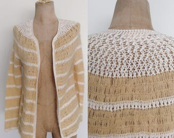 1970's Cream & Butter Yellow Knit Cardigan Sweater Size XS Small by Maeberry Vintage