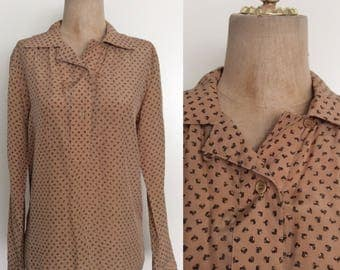 1970's Acorn Print Silk Blouse Vintage Collared Top Size Medium by Maeberry Vintage