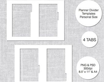 Personal Planner Divider Template, 4 Tabs, PSD & PNG, Instant Download