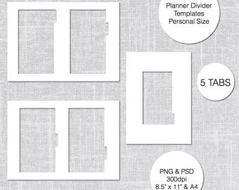 Personal Planner Divider Template, 5 Tabs, PSD & PNG, Instant Download