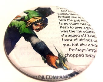 Handmade POCKET MIRROR made using recycled magazines -Link Syward Sword- 2.25 inches - OOAK - One of a Kind
