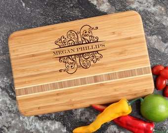 Personalized Cutting Board, Personalized Wedding Gift, Custom Engraved Bamboo Cutting Boards, Bridal Shower, Housewarming Gifts-12 x 8 D4