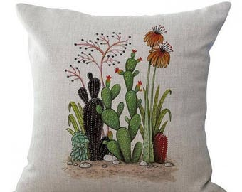 25% Off Sale Hand-painted Potted Cactus Succulents Cotton Linen Throw Pillow Case/Cover