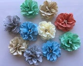 Handmade Mini Paper Flowers Coastal Colors
