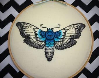 death head moth embroiderd Wall Art